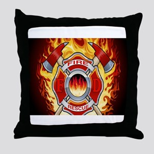 FLAMING FIRE RESCUE Throw Pillow