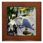 Backlit Open-Wing Egret - Framed Tile