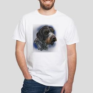 German Wirehaired Pointer Por White T-Shirt