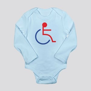 Red and Blue Handicapped Sign Long Sleeve Infant B