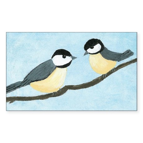 Chickadees Rectangle Sticker