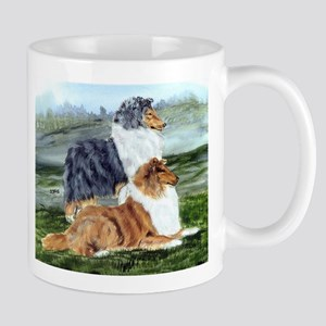 Rough Collie Pair w Blue Mug