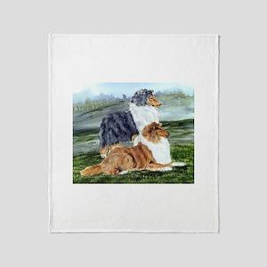 Rough Collie Pair w Blue Throw Blanket