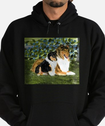 Rough Collie Mom and Pup Hoodie (dark)
