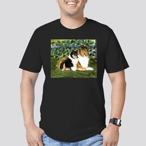 Rough Collie Mom and Pup Men's Fitted T-Shirt (dar