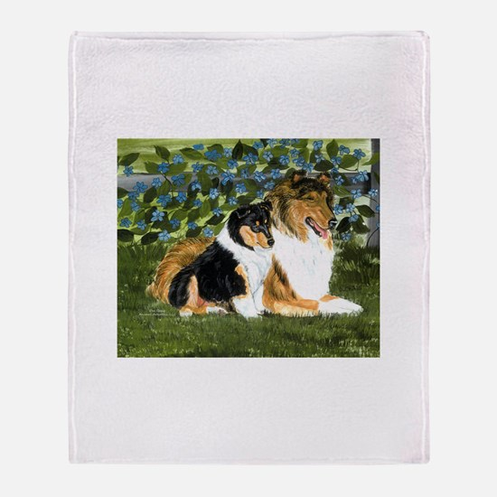 Rough Collie Mom and Pup Throw Blanket