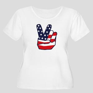 Women's Plus Size Scoop Neck T-Shirt USA Tea-Party