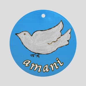 Amani Swahili Peace Dove Ornament (Round)