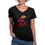 Fibonacci Lips Women's V-Neck Dark T-Shirt
