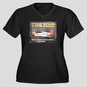 Tuskegee P-51 Women's Plus Size V-Neck Dark T-Shir