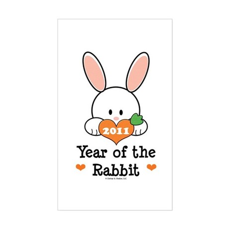 Year Of The Rabbit Sticker (Rectangle)