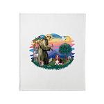 St.Francis #2/ Basset Hound Throw Blanket