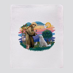 St Francis #2/ Kuvacz Throw Blanket