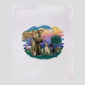 St.Francis #2/ Two Labradors Throw Blanket