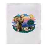 St.Francis #2/ Pomeranian(3) Throw Blanket