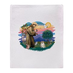 St.Francis #2/ Pomeranian (f) Throw Blanket