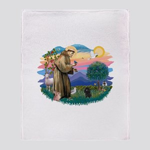 St.Francis #2/ Poodle (Toy Bl Throw Blanket