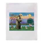 St Francis / Poodle (parti) Throw Blanket
