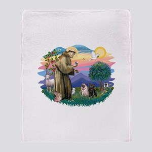 St.Francis #2/ Pugs (2-blk/f) Throw Blanket
