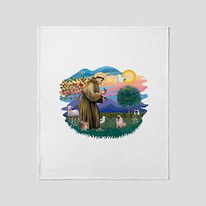 St Francis #2/ Pug (fawn) Throw Blanket