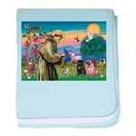 Saint Francis & Two Pugs baby blanket