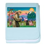 Saint Francis & Two Pugs baby blanket