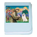 St Francis & Samoyed baby blanket