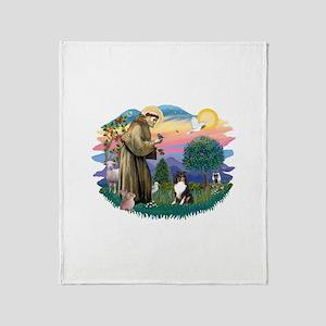 St.Francis #2/ Sheltie (tri) Throw Blanket