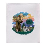 St.Francis #2/ Shih Tzus (4) Throw Blanket