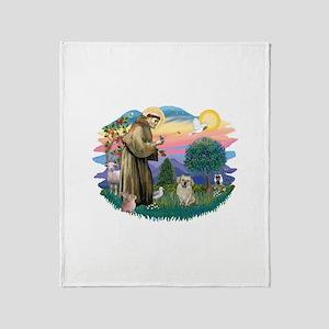 St.Francis #2/ Tibetan Spani Throw Blanket