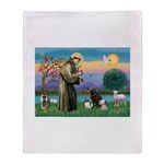 St Francis/3 dogs Throw Blanket