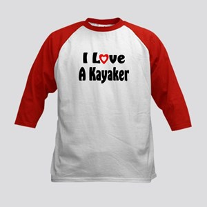 I Love A Kayaker Kids Baseball Jersey