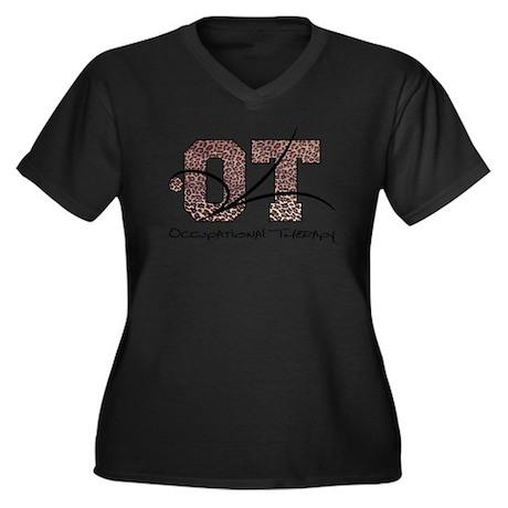 Leopard Women's Plus Size V-Neck Dark T-Shirt