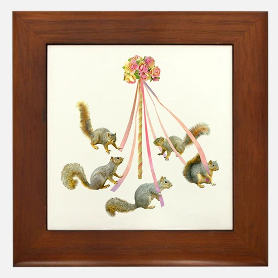 May Day Squirrels Framed Tile