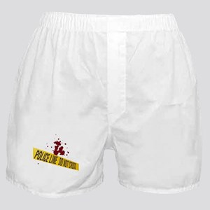 Police line with blood spatte Boxer Shorts