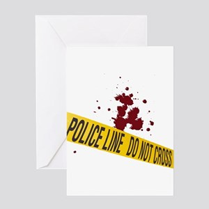 Police line with blood spatte Greeting Card