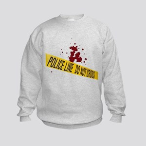 Police line with blood spatte Kids Sweatshirt