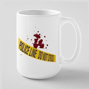 Police line with blood spatte Large Mug