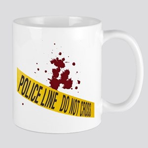 Police line with blood spatte Mug