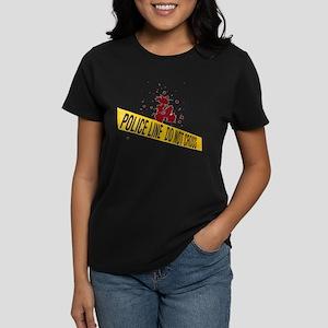 Police line with blood spatte Women's Dark T-Shirt