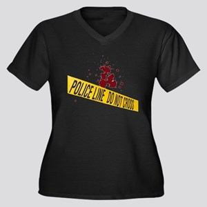 Police line with blood spatte Women's Plus Size V-
