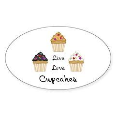 Live Love Cupcakes Sticker (Oval 50 pk)