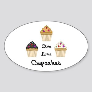 Live Love Cupcakes Sticker (Oval)