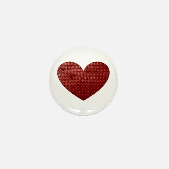 Diamond Plate Heart Mini Button
