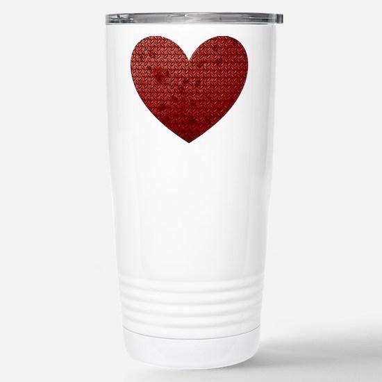 Diamond Plate Heart Stainless Steel Travel Mug