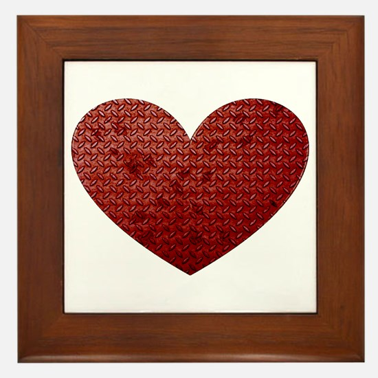 Diamond Plate Heart Framed Tile