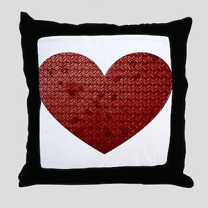 Diamond Plate Heart Throw Pillow