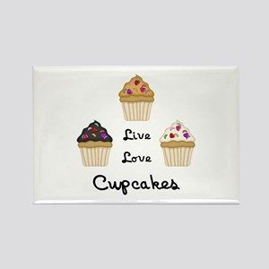 Live Love Cupcakes Rectangle Magnet