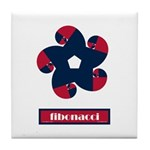 Fibonacci Red White Blue Tile Coaster