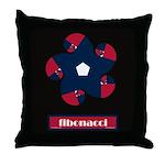 Fibonacci Red White Blue Throw Pillow